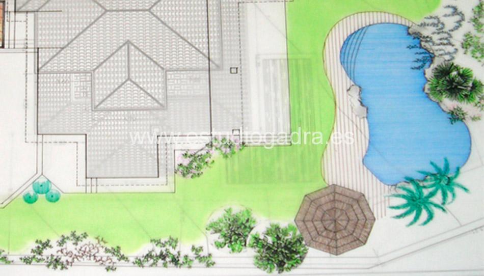 Plano de jardín diseñado en nuestro estudio.